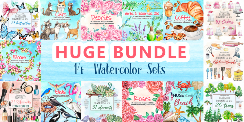 huge-watercolor-bundle-14-watercolor-sets-for-commercial-and-personal-use