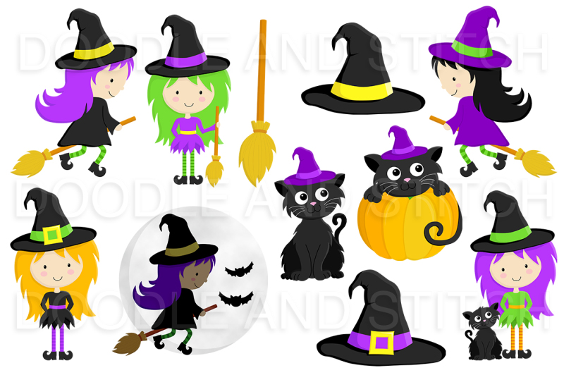 witches-and-cats-halloween-clipart-set