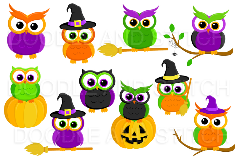 halloween-owls-clip-art-set