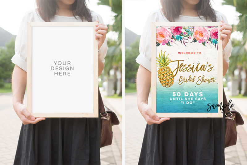 Free wood frame mock up, Plain interior photo mockup frame mockup, 10x14 mock up frame, Girl Holding Poster Mockup, Product Mockup, Styled Stock (PSD Mockups)