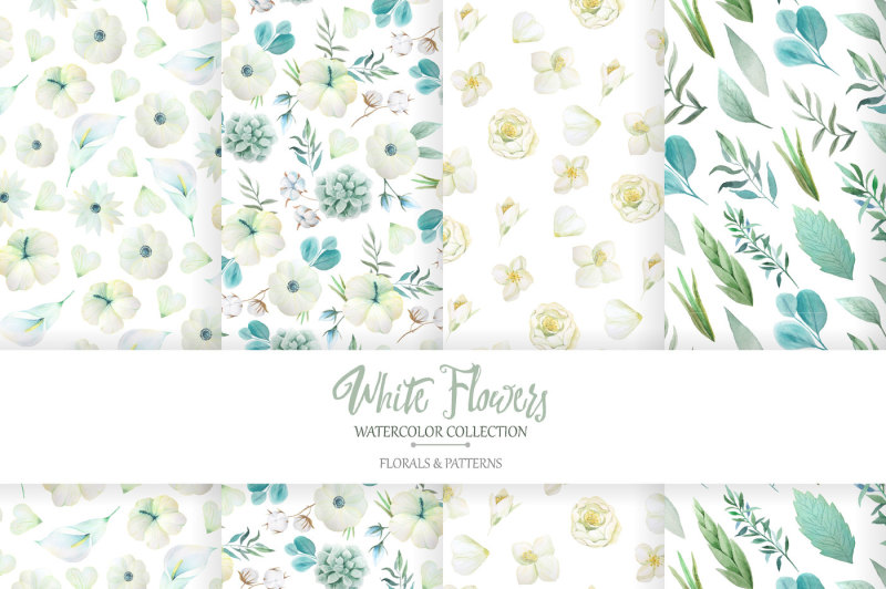 watercolor-white-flowers-set