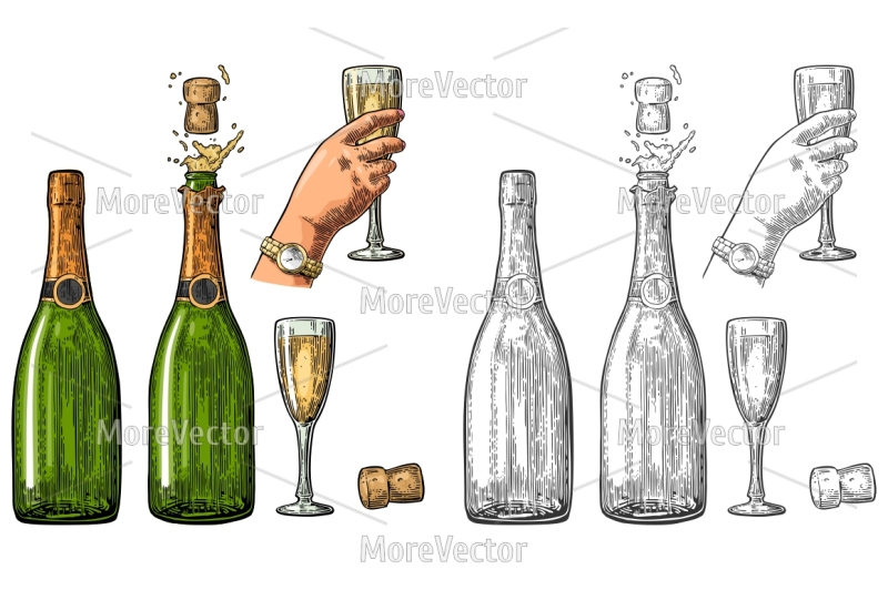bottle-of-champagne-explosion-and-hand-hold-glass-vintage-color-vector-engraving