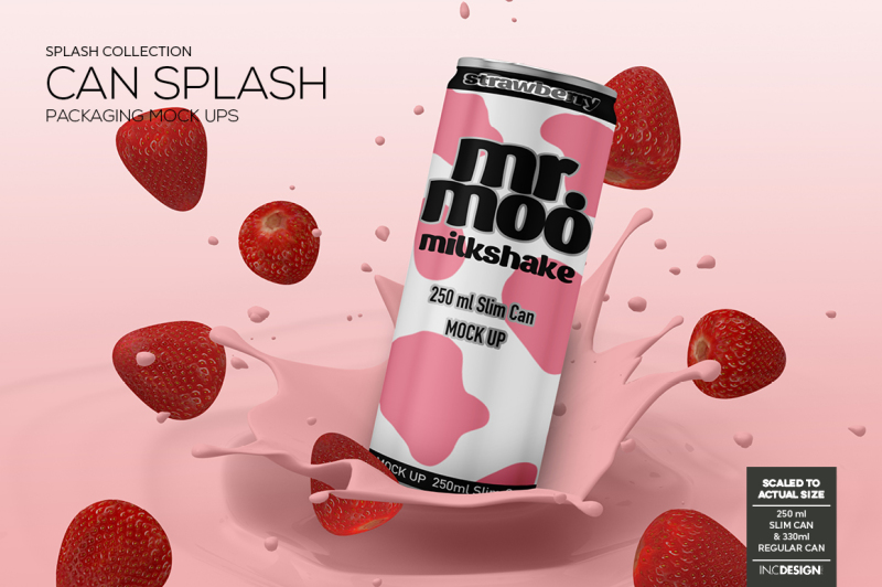 Free Can Splash Packaging Mock Up (PSD Mockups)