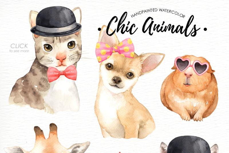 chic-animals-watercolor-clip-art