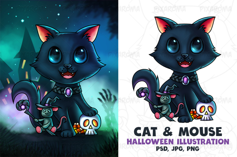 cat-and-mouse-halloween-illustration