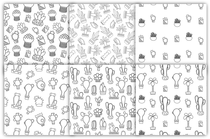outlined-cactus-seamless-pattern-set