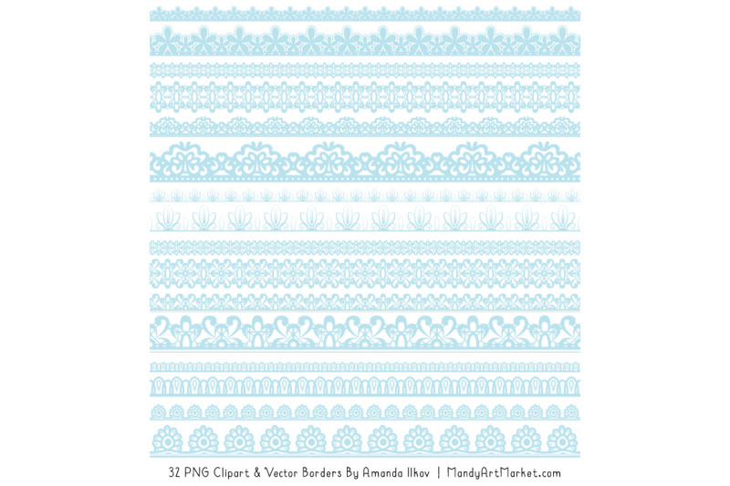 Mixed Lace Clipart Borders In Soft Blue By Amanda Ilkov