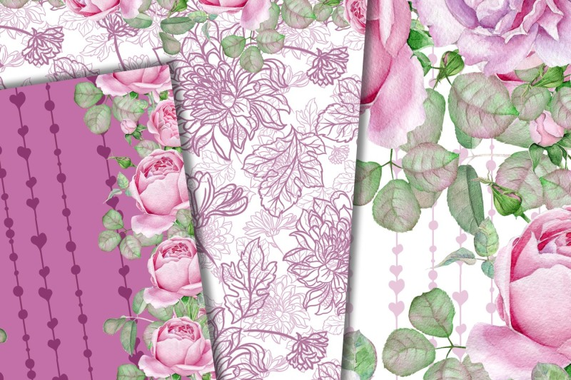 pink-roses-paper-pack