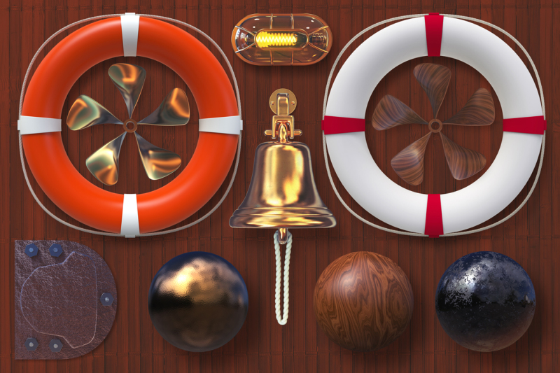 isolated-nautical-items