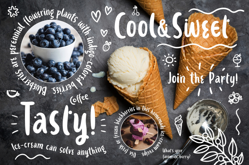 ice-cream-and-berries-font