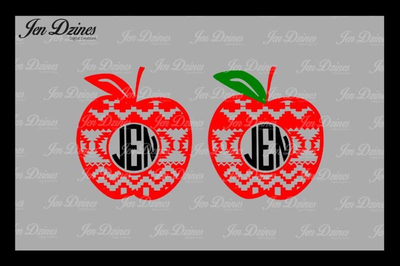 aztec-apple-monogram-frame-svg-dxf-eps-png