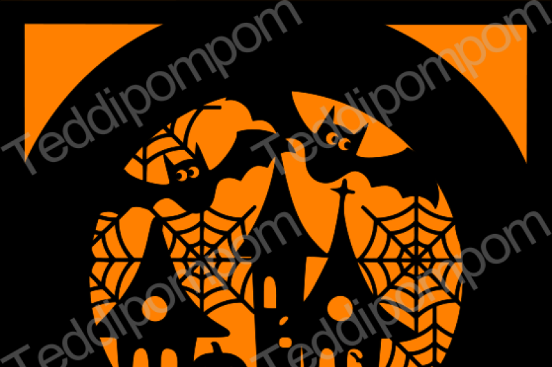 halloween-haunted-house-and-bats-svg
