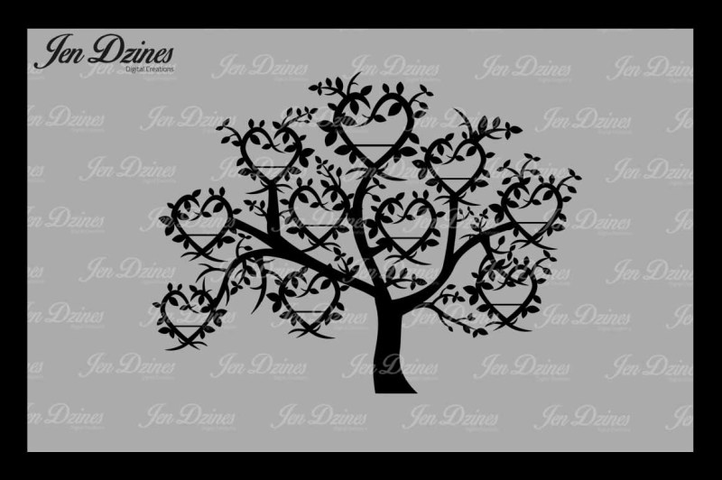 Heart Family Tree 10 Names Svg Dxf Eps Png By Jen Dzines