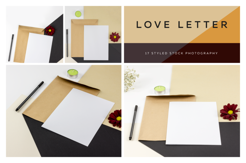 Free Love Letter, Styled Photo Scene (PSD Mockups)