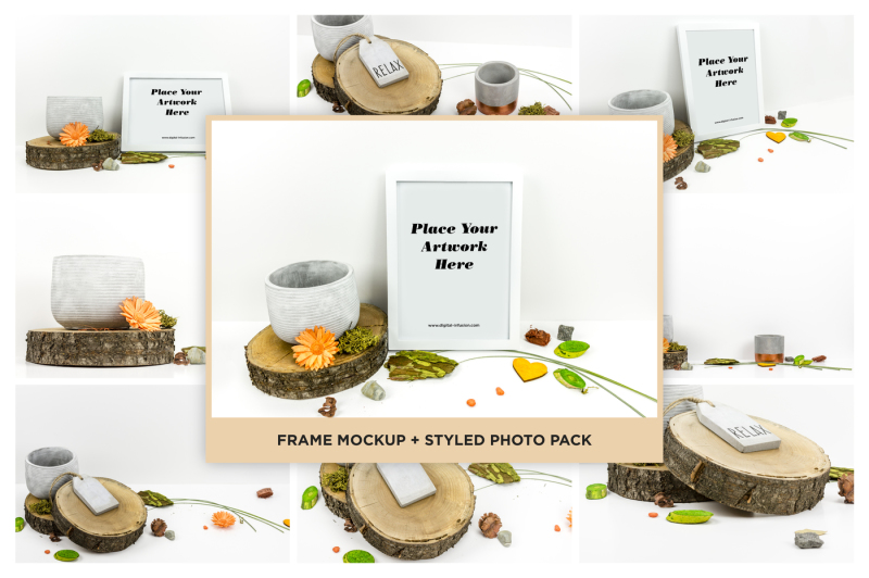 Free Frame Mockup + Styled Photo Pack (PSD Mockups)
