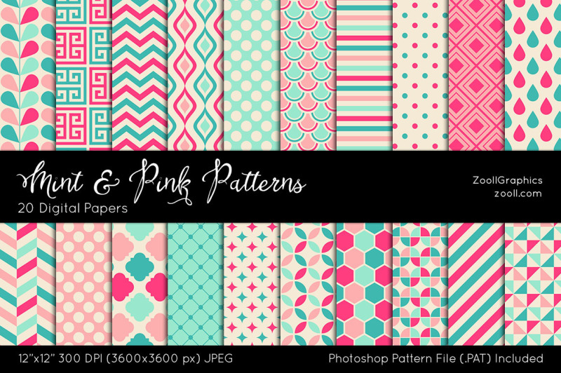 mint-and-pink-digital-papers