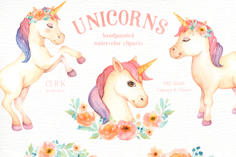 unicorns-watercolor-clip-art