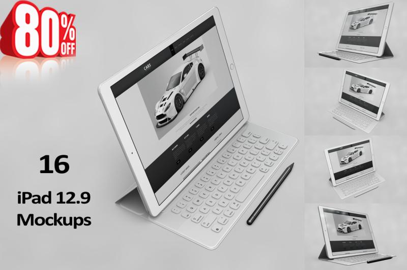 Free Tablet Pro 12.9 App MockUp 2017 (PSD Mockups)