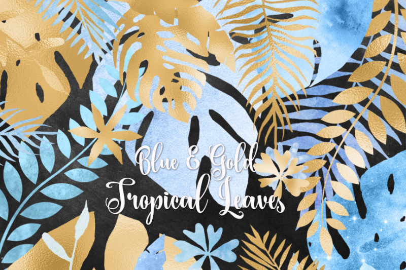 blue-and-gold-tropical-leaves