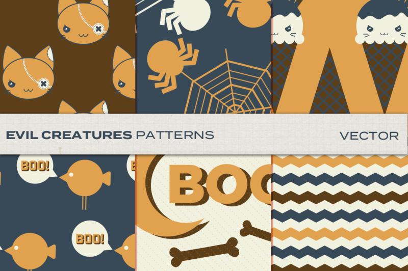 evil-creatures-halloween-patterns