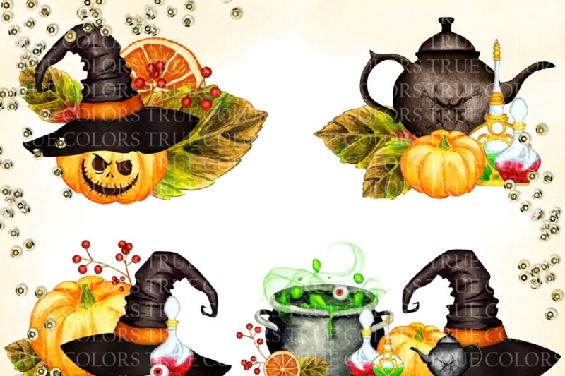 paper-seamless-design-digital-paper-instant-download-watercolor-hand-painted-pumpkin-witch-cauldron-halloween-potion-bottle-purple-green-witch-hat-halloween-digital-halloween-paper