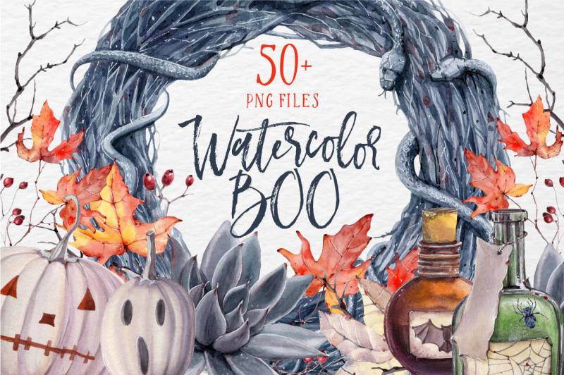 watercolor-boo-halloween-set