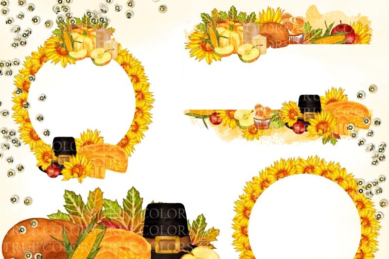 autumn-thanksgiving-clip-art-watercolor-hand-painted-clip-sunflower-pumpkin-candle-apple-cupcake-piligrim-hat-illustration-diy-pack