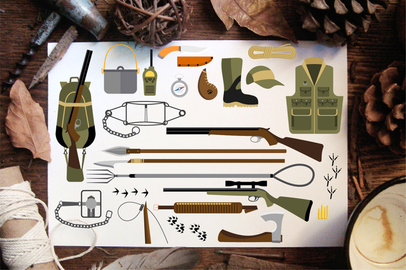flat-icons-of-hunting-equipment