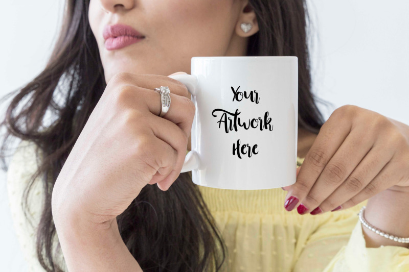 Free Mug Mockup- woman holding mug (PSD Mockups)