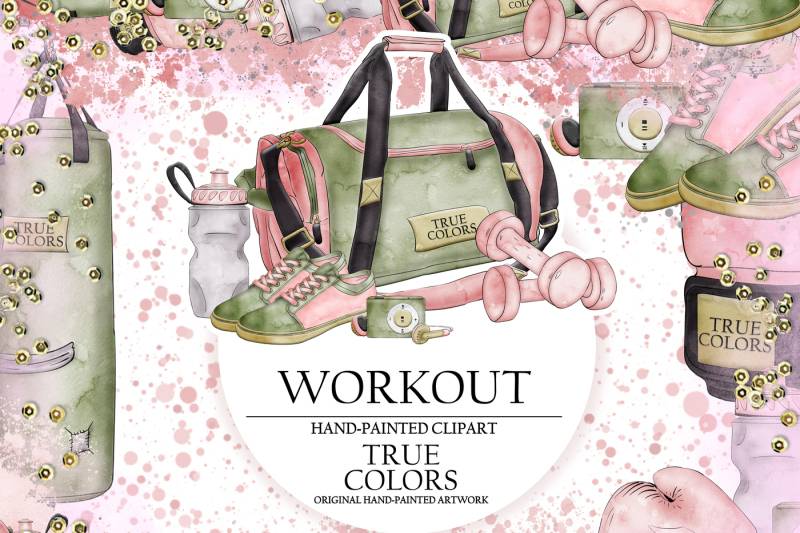 workout-clip-art-sport-gym-fashion-illustration-planner-stickers-supplies-watercolor-punch-bag-boxing-gloves-shoes-trainers-sticker-diy