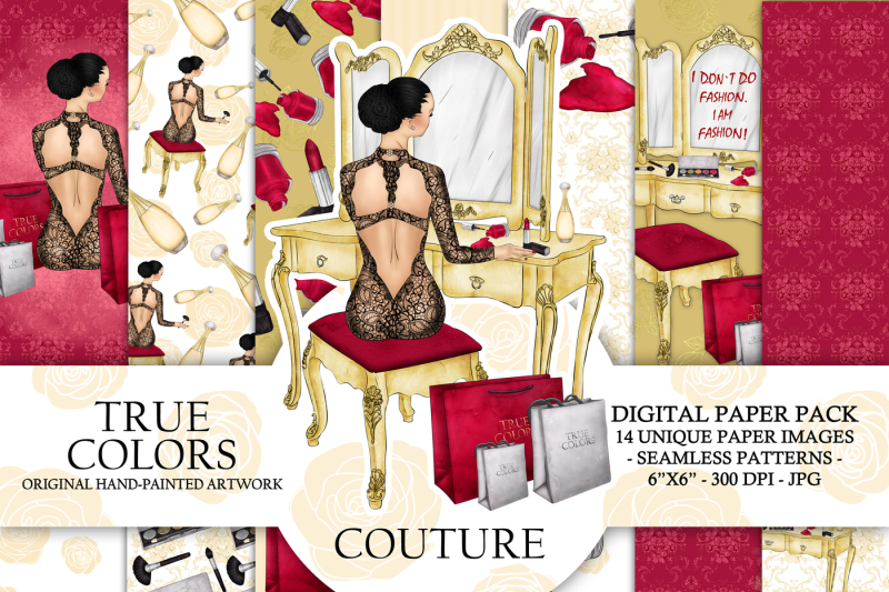 make-up-fashion-digital-paper-pack-haute-couture-girl-fashion-illustration-planner-sticker-supplies-seamless-watercolor-gold-foil-background