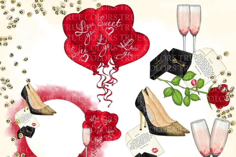 valentine-s-day-clip-art-red-dress-girl-fashion-illustration-planner-stickers-supplies-watercolor-high-heels-key-rose-champagne-sticker-diy
