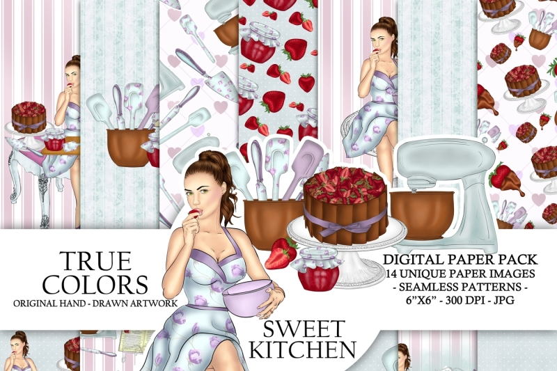 sweet-kitchen-digital-paper-bakery-girl-pastry-cook-woman-fashion-illustration-planner-stickers-supplies-seamless-watercolor-blue-background