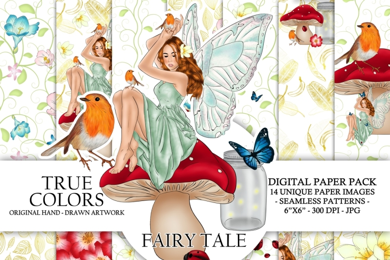 fairy-tale-digital-paper-pack-fantasy-spring-fashion-illustration-planner-stickers-supplies-seamless-watercolor-gold-foil-bird-background