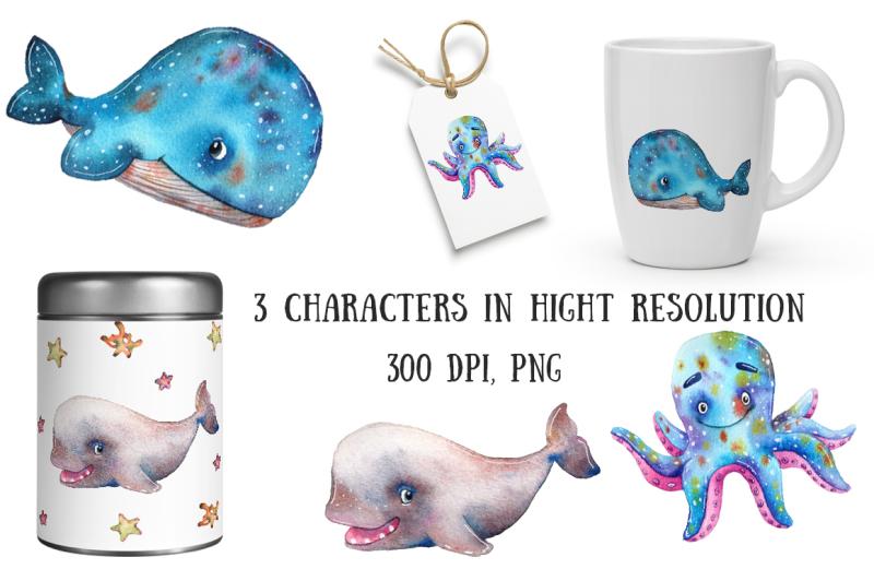 underwater-friends-watercolor-clip-art-set