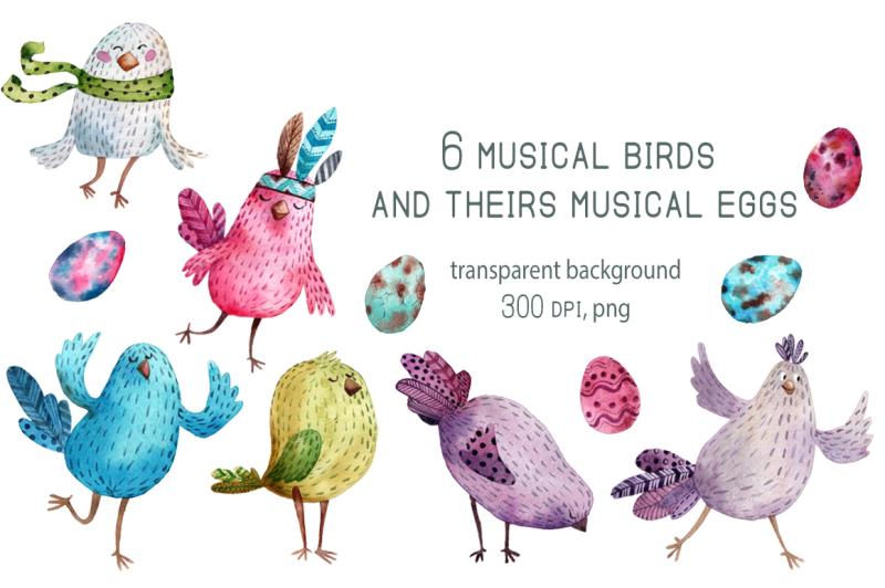 birdsong-watercolor-clip-art-set