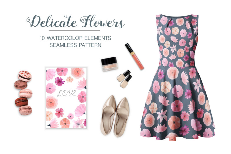 watercolor-delicate-pink-floral-set