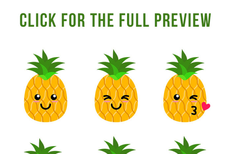 9 Cute Pineapples Clipart, Pineapple SVG, Tropical Fruit ...