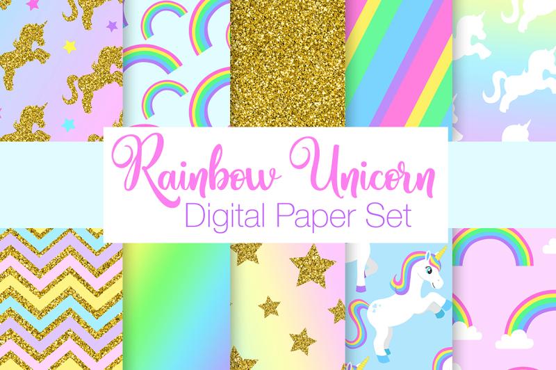 rainbow-unicorn-digital-paper-set
