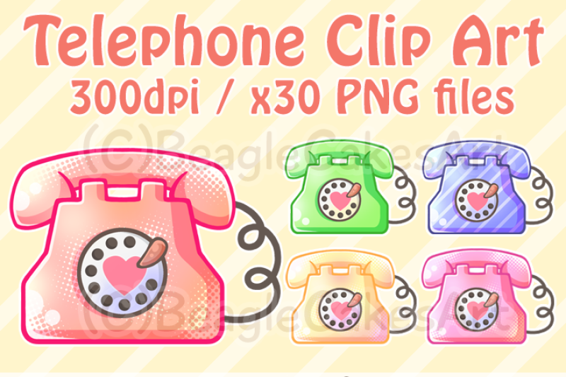 Telephone Clipart. Phone Clipart. Instant Download. Retro ...