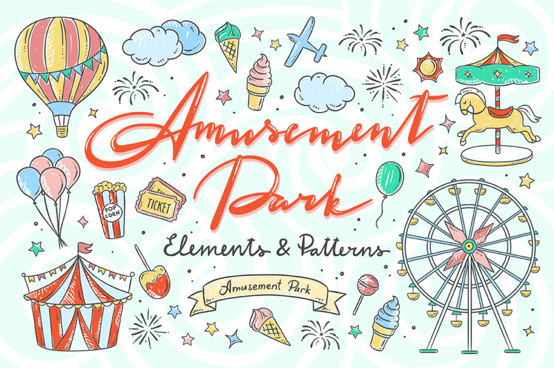 amusement-park-illustrations-and-patterns