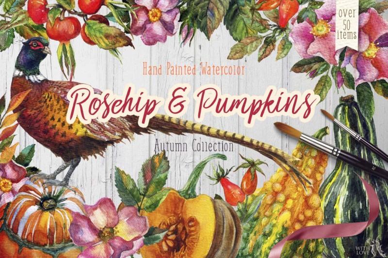 watercolor-rosehip-and-pumpkins-set
