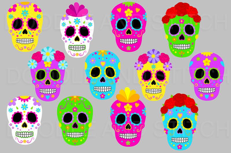 day-of-the-dead-sugar-skulls-clipart