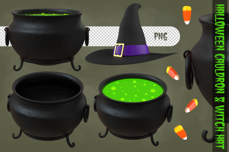 halloween-cauldron-and-witch-hat