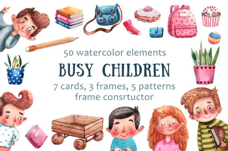 busy-children-watercolor-clip-art-set