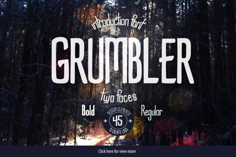 grumbler-font-logo-elements-set
