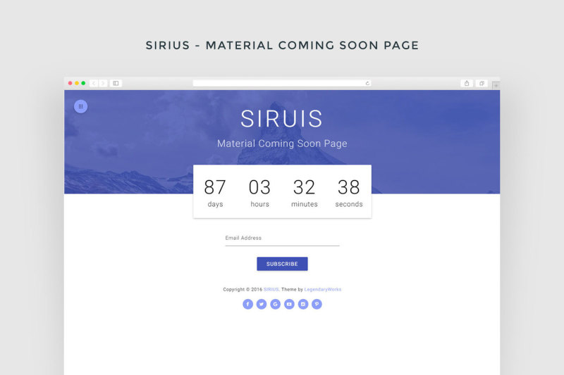 sirius-material-coming-soon-page