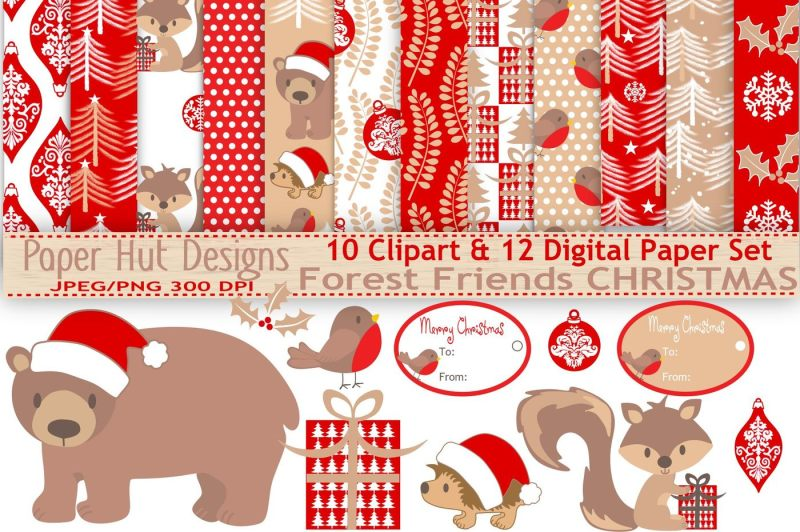 christmas-forest-animals-clipart-and-digital-papers