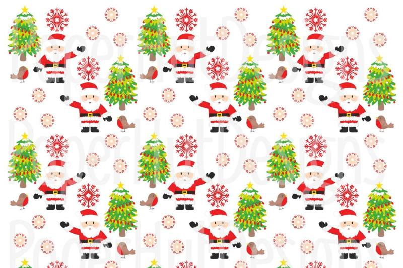 Christmas Santa Clipart And Digital Papers By Paperhutdesigns