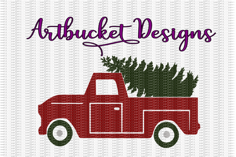 hand-drawn-vintage-christmas-tree-and-truck-cutfile-1